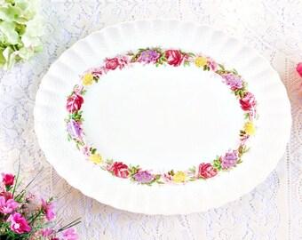 """Vintage Spode Rose Briar 14.75"""" Platter: Tea Party Platter, Floral Platter, Pretty Vintage Platter, Spode Platter, Rose Briar Platter"""