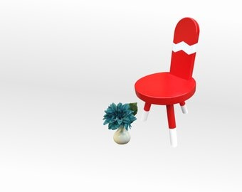 Kids Chair Accent Chair Childrens Furniture - Red and White Chevron by Candlewood Furniture Kid's Chair