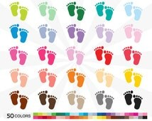 80% OFF SALE - Baby Footprints Clipart Pack, Footprint Clip art Set, Fun, Vector, Bright, Pastel, Multicolor - Instant Download - C016