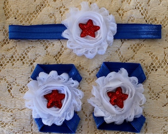 Baby Barefoot Sandals and Headband Set, Red White and Blue Sandal and Headband Set, Fourth of July Sandals, USA Sandals and Headband Set