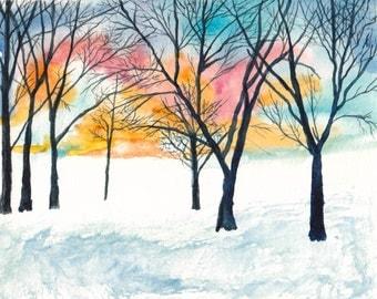 Winter Sunrise - Watercolor Print
