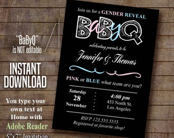 Editable Printable Gender Reveal Invitation BBQ party BaByQ Couples Shower Instant Download PDF File A480