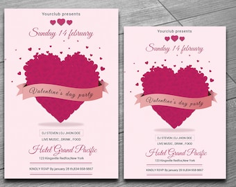 Valentines Day Party invitation Template | Valentines Day Party Flyer | Ms Word & Photoshop Template | Instant Download