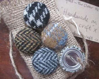 Harris Tweed Buttons (5) - Earthy tones