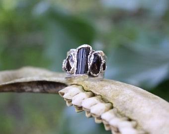 Tourmaline and Garnet Fine Silver Ring