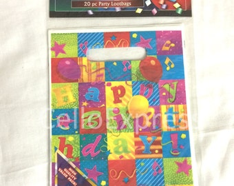 Multi Coloured Happy Birthday Childrens Party Bags