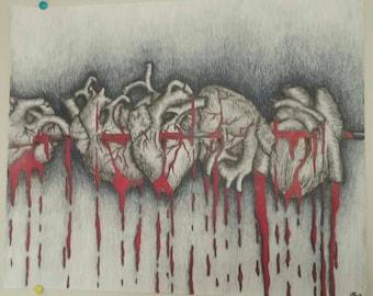 Five Hearts Art Print
