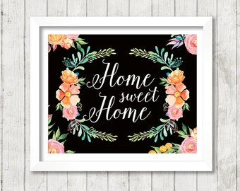 Home sweet Home - black background - Art Print Poster - 8 x 10 inch - Art Calligraphy