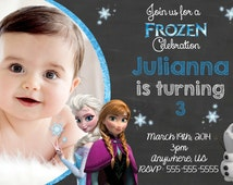 Disney Frozen Movie Birthday Invitations, Frozen Digital Invitations, Frozen Movie Anna Elsa Olaf Birthday Party Supplies
