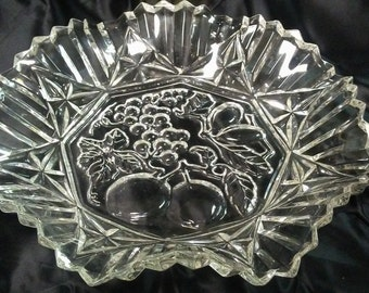 GLASS FRUIT BOWL,Embossed fruit design, Ruffled edges,Vintage