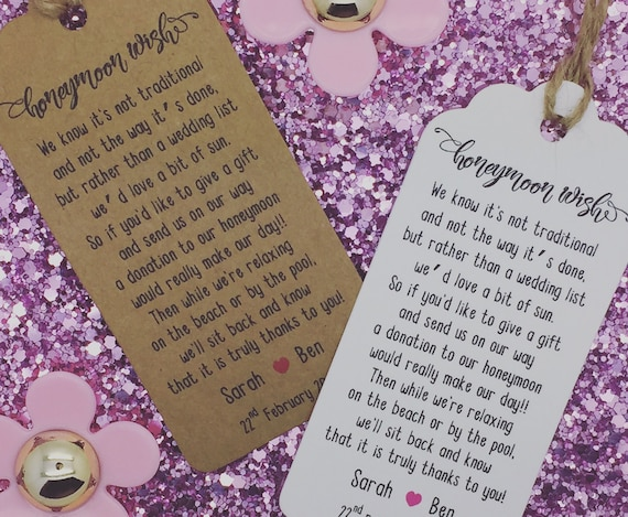 Personalised Wedding Honeymoon Money Request Poem Card Favour Gift Tag