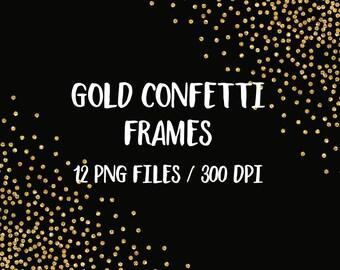 Gold glitter frames clipart, digital glitter frames, golden confetti, sparkly dots frame clipart, borders, download