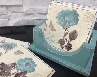 Coasters vintage,decoupage turquoise coasters, cup costers, table coasters