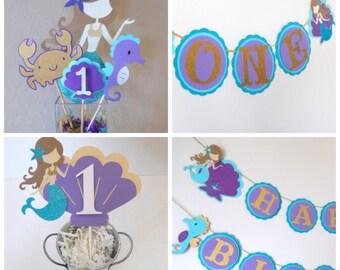 1st Birthday Under the Sea Mermaid Party Bundle, Mermaid Happy Birthday Banner, Highchair banner, Mermaid Cake Topper