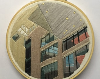Architectural Abstract Embroidery | Handmade Wall Art Hanging Design Architecture