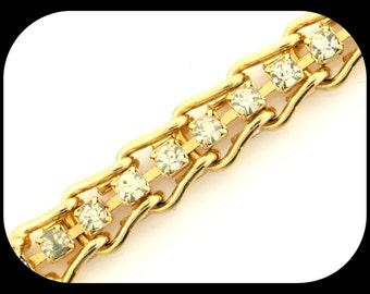 "Vintage Amazing 7"" Rhinestone Gold Plate 14.36GR"
