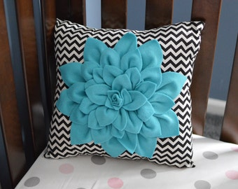 Dahlia Pillow, Chevron Pillow, Pillow, Felt Flower, Flower Pillow, Decorative Pillow, Throw Pillow, Dahlia Flower, Black and White, Teal