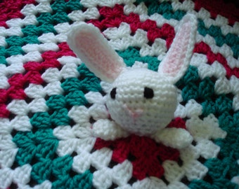 Security Blanket with Bunny with Deep Pink, Teal Green and White Blanket, also called Lovey in USA