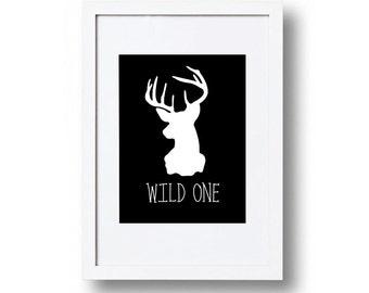 Black and white 'wild one' print, monochrome bedroom ideas, Playroom decor, Child's bedroom, Wall art print