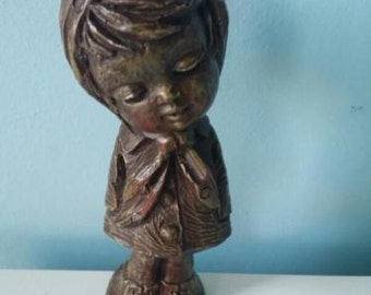 Very sweet vintage/retro statue girl with cape 60s or 70s signed