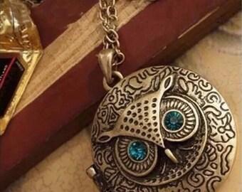 Blue eyed Owl locket