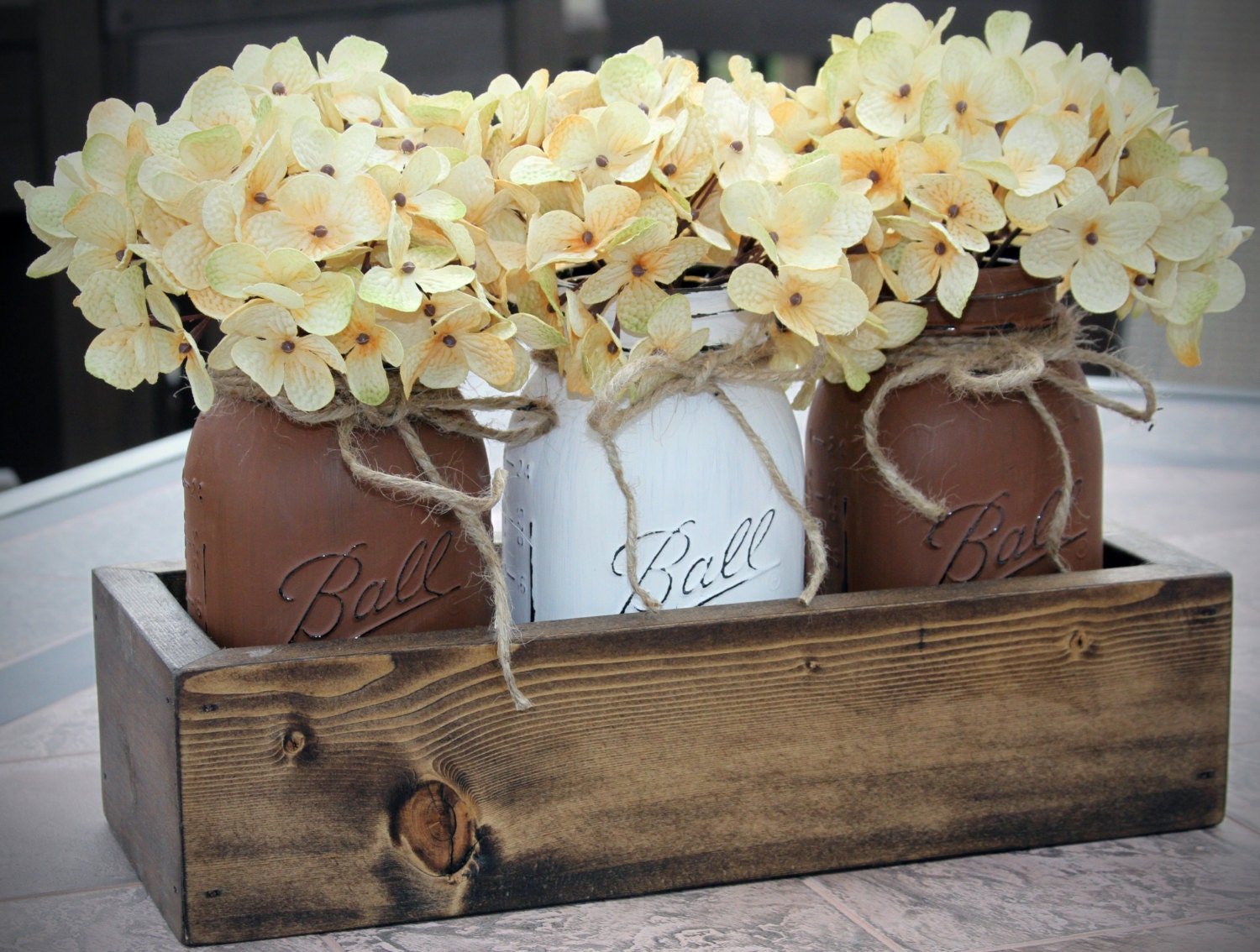 Mason jar decor painted jars centerpiece