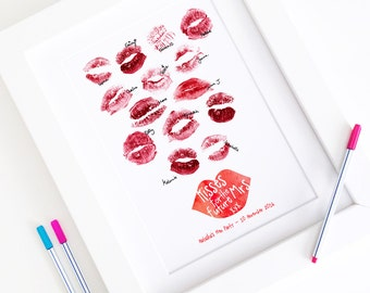 Personalised Hen Party Lipstick Kisses Guestbook - Hen Do Batchelorette Kitchen Tea Bridal Shower Thumbprint Fingerprint