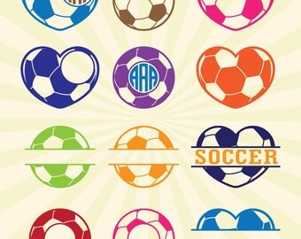 Soccer Football SVG Monogram Frame, Football Soccer SVG Cut Files - Vector svg dxf eps png - Silhouette Cameo, Cricut, Transfer & other