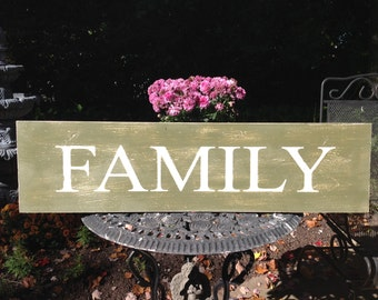 FAMILY Sign, Inspirational Sign, Handmade Chalk Painted Sign