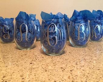 Monogram Bridal Wine Glasses (Set of 8)