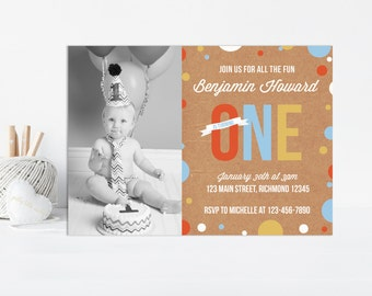 Boys First Birthday Invitation, Boys Birthday Invitation, 1st Birthday Invitation, Printable Invitation w Photo, First Birthday Invitation