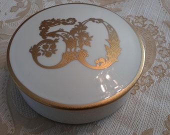 Vintage Gilt Fine Bone China 50th anniversary round trinket box jewelry box, 50th anniversary, golden anniversary, jewelry box, mikasa, gift