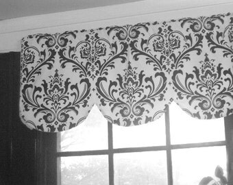 """Scallop shaped valance, traditions damask, lined, black white, 42"""" x 16"""""""