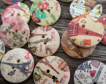Ooh là là! Frenchbuttons, pretty buttons, multi-coloured buttons, 2 hole buttons, wooden buttons, lot buttons, boutons, scrapbook