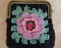 Crochet handmade coin purse granny square in 4ply cotton . Cute gift for girls and ladies