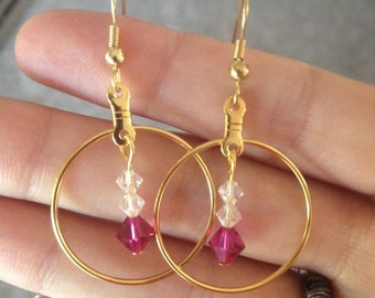 Pink Swarovski Elements Earrings- Gold or Silver plated