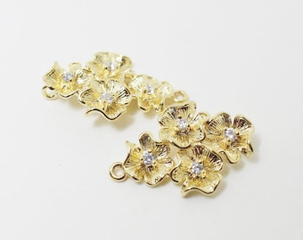 P0141/Anti-Tarnished  Gold Plating Over Brass/4 Flowers connector+cz /14 x22mm/2pcs