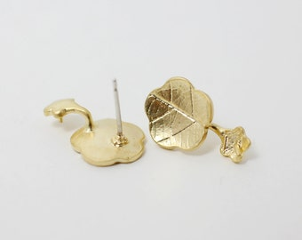E0058/Anti-tarnished Matte Gold Plating Over Brass+925  Sterling Silver Post/Lotus leaf earrings For Pearl /11x18mm/2pcs