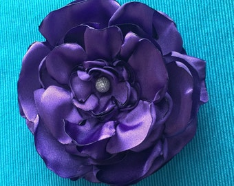 Satin flower, hair clip or brooch