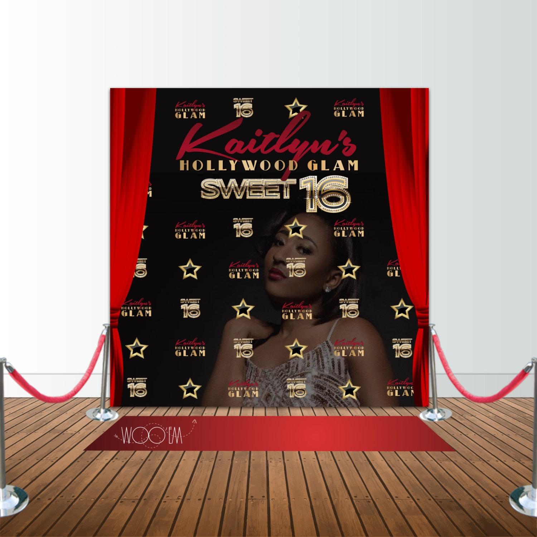 Hollywood Glam Sweet 16 Birthday 8x8 Backdrop Step