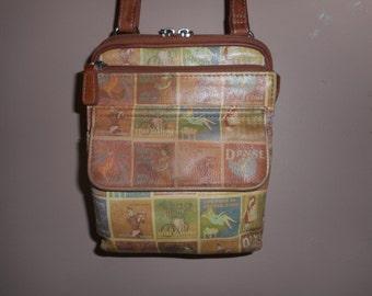 """Vintage """"French Advertisments"""" Leather Shoulder Bag"""