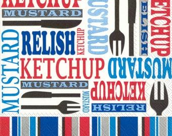 Picnic NAPKINS, Patriotic Napkins, Hamburger Napkins, Condiments Napkins, 4th of July Napkins, Hot Dog Napkins, Striped Napkins, BBQ Napkins