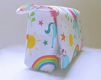 Baby changing bag, White unicorn rainbow nappy clutch, nappy bag, diaper clutch, day care bag, nursery bag, baby accessories bag, diaper bag