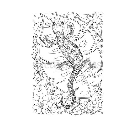 Eidechse Malseite Handgezeichnete Ausmalbilder Malbuch
