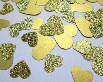 60 Wedding Confetti, Heart Confetti Gold Heart Party Confetti, Wedding Decor Gold Glitter Hearts, Bridal Shower Bachelorette Party Confetti