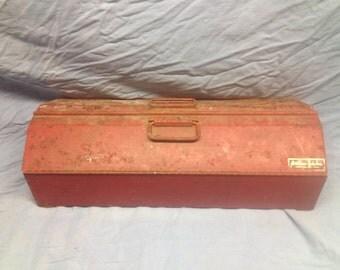 Vintage Metal Yorktown Industries Red Tool Box - Distressed Shabby Chic Toolbox Storage Organization Display Decor