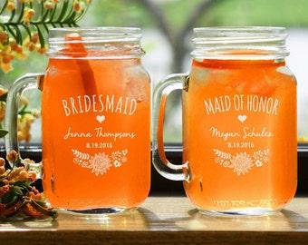 5 Mason Jar Mugs Glasses - Monogrammed Mason Jar - Beer Mug - Bridal Favor - Personalized Wedding Party Mug with Handle - Bridesmaid Gift