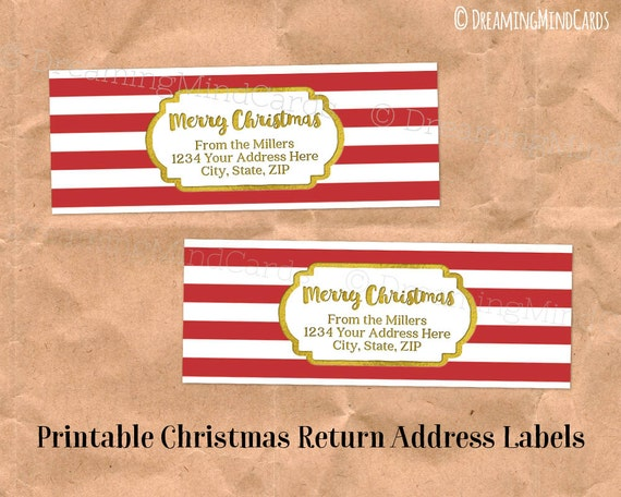 Custom holiday printable return address labels vintage red for Printable christmas address labels