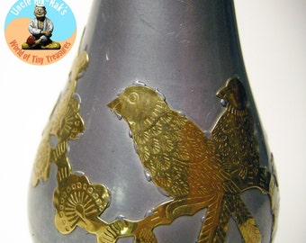 Vintage pewter bud vase with brass bird and cherry blossom applied decoration, Asian motif
