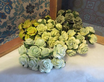 Mixed Green Paper Roses